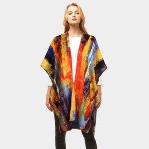 Tops - Multicolor Faux Cashmere Shawl Poncho